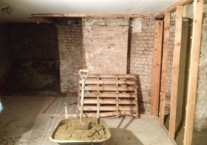 Damp proofing and tanking of a basement, London